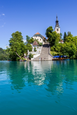 Bled island with its steep staircase, Lake Bled, Slovenia  Stock Photo