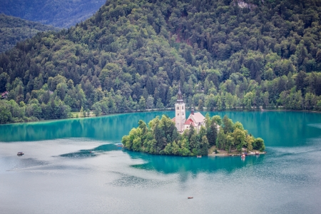 View of Bled Island from Bled Castle, Lake Bled, Slovenia