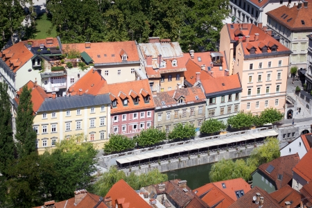 Top view of the old town of Ljubljana, Slovenia