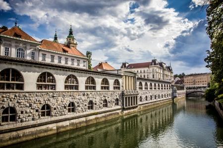 Central Market in ljubljana overlooking the canal, Ljubljana, Slovenia Editorial