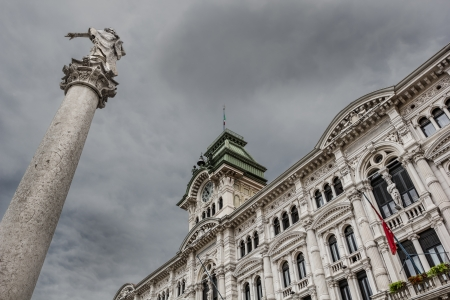 habsburg: Trieste city hall and column of Charles VI of Habsburg, Italy Editorial