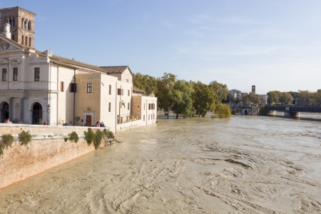 tiber: Tiber Island and a flooded Tiber, Rome, Italy Editorial