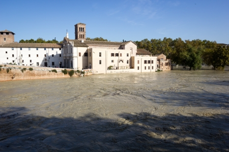 tiber: Tiber Island and a flooded Tiber, Rome, Italy Stock Photo