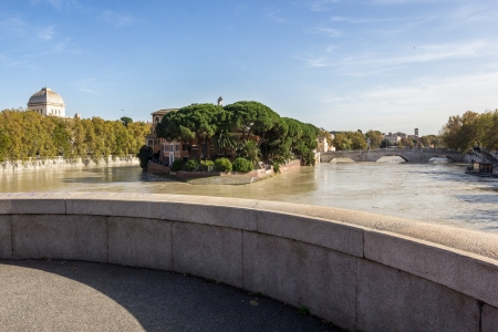 Tiber Island and a flooded Tiber, Rome, Italy Stock Photo