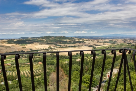 View of the Tuscan countryside from a balcony in Montepulciano