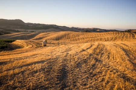 Hay bales and rolling landscape at sunset near Montepulciano, Tuscany, Italy Banque d'images