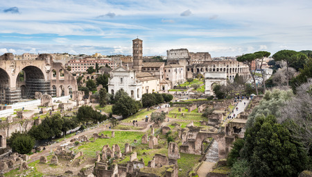 Roman Forum southeast side, view from Palatine Hill, Rome, Italy