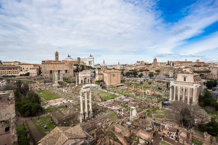 Roman Forum northwest side, view from Palatine Hill, Rome, Italy Stock Photo