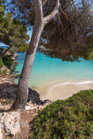 Cala Esmeralda is located next to Cala dOr center in the southeast of Majorca.