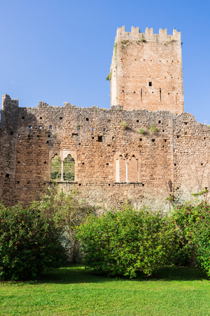 Remains of the castle in the Garden of Ninfa in the province of Latina, Italy, Europe. Editorial
