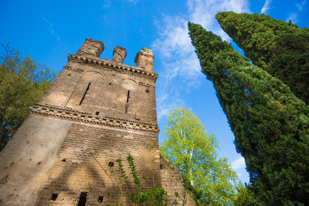 Ancient tower in the Garden of Ninfa in the province of Latina, Italy, Europe. Stock Photo