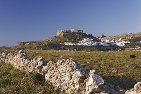 lindos: View of Lindos in the morning