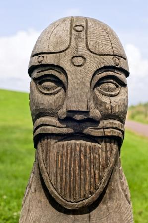 wood carving: Vikings head carved in wood