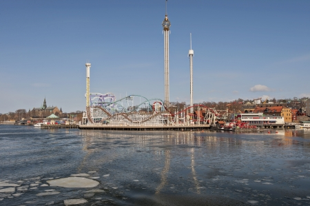 playground rides: A view from the sea of the playground in Stockholm