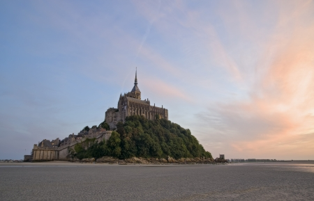View of Mont Saint Michel at sunset in summer time, France photo