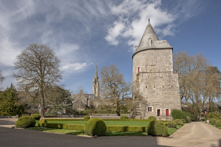 bretagne: View of the castle of the city of Josselin in Bretagne, France