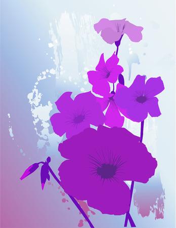 青の織り目加工の背景に紫の花  イラスト・ベクター素材