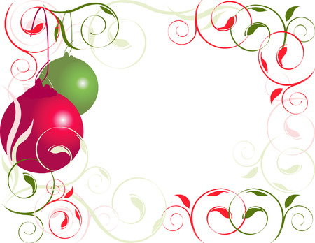 xmas background: Christmas, red and green ornament flourish border Illustration