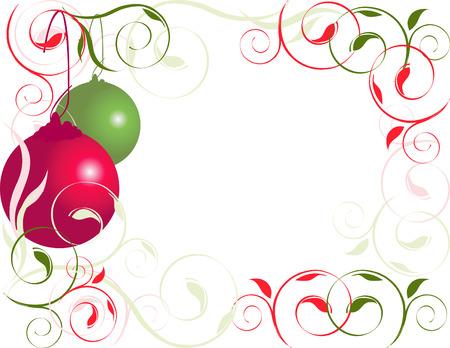 Navidad, el rojo y el verde florezca ornamento frontera Foto de archivo - 3697667