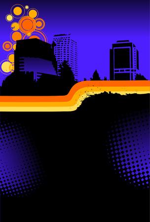 Abstract night skyline wretro horizontal separator for text area Ilustração