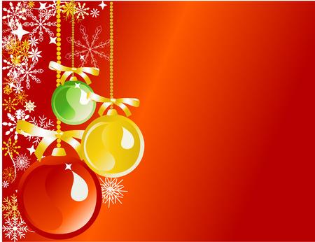Rode, gouden en groene versieringen op rode achtergrond  Stock Illustratie