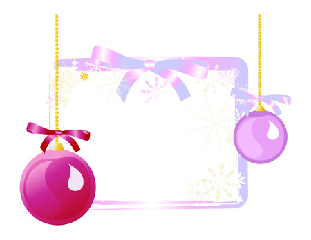 Purple ornaments on iridescent gift tag background