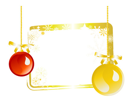 Red and gold ornaments on gold gift tag label on white background