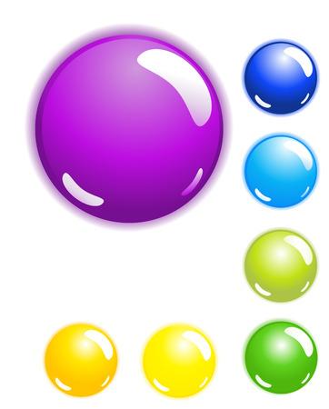Set of seven shiny web buttons Illusztráció