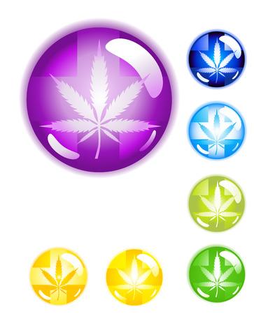 reefer: Circular shiny medical Marijuana leaf button