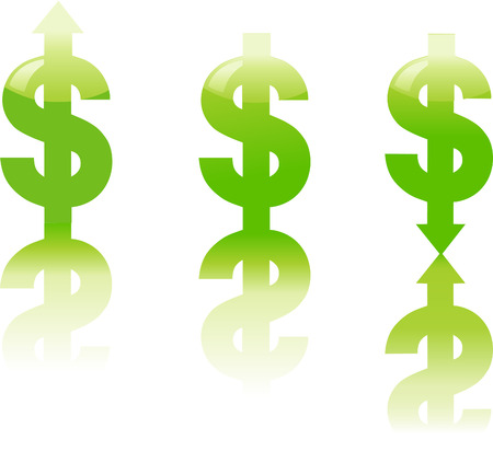 Rising and Falling Dollar Signs on White Background with Reflections Ilustração