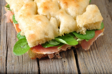 focaccia ligure with ham and rucola Stock Photo