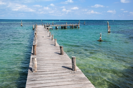 wooden pier in cancun photo