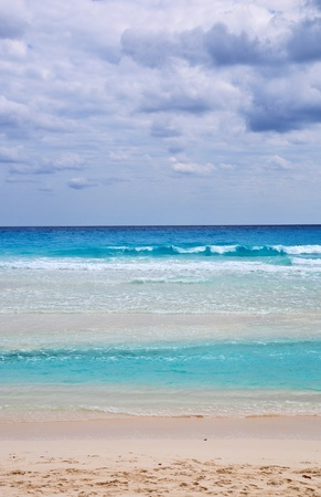 the beautiful sea turquoise of cancun beach in mexico