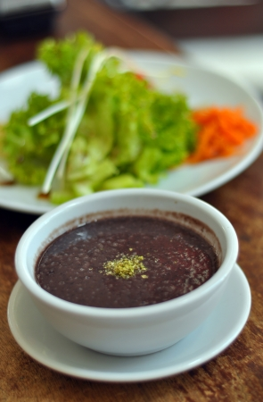 bean soup and a salad