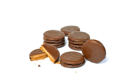 delicious alfajores on a white background photo