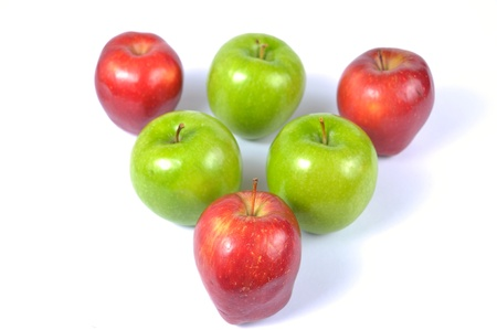 red and green apples on a white background Stock Photo