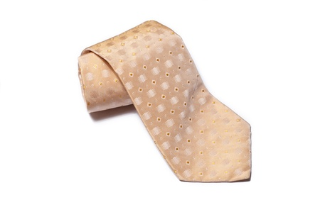 blue tie with white pois on a white background Stock Photo