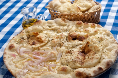 tasty italian focaccia with salt and olive oil photo