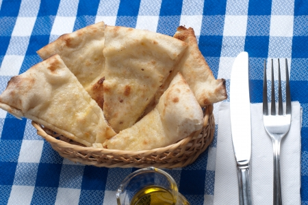 tasty italian focaccia with salt and olive oil