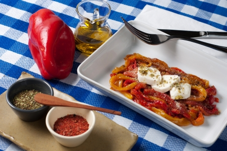 delicious and tasty appetizer peppers with mozzarella