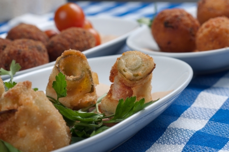 appetizer of delicious and tasty fried zucchini photo
