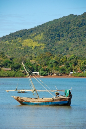 the traditional fishing boats of nosy be Stock Photo