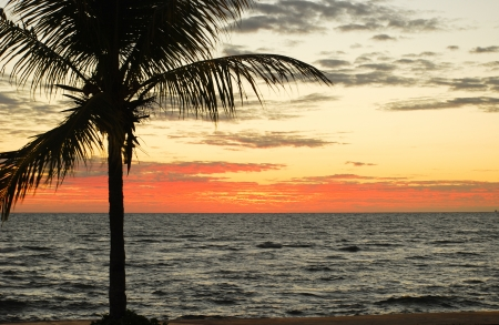 the beautiful colors of a sunset in nosy be photo