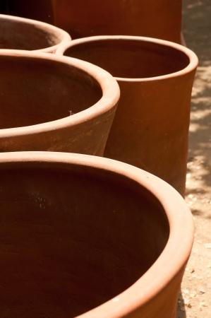 close up of hand-made clay pots in the pueblo de los dominicos photo