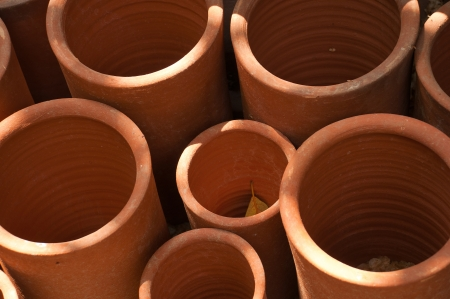 close up of hand-made clay pots in the pueblo de los dominicos