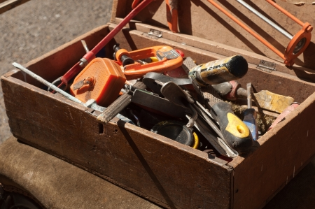 working tools in a wooden box