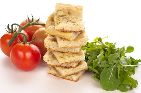 tasty italian focaccia on a white background Stock Photo