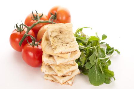 tasty italian focaccia on a white background Stock Photo