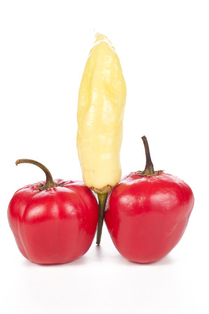two kinds of chilli peppers composing a penis photo