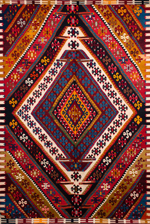 a beautiful and colored turkish kilim photo